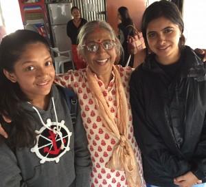 Bindhaya (right) with Asmita and Usha