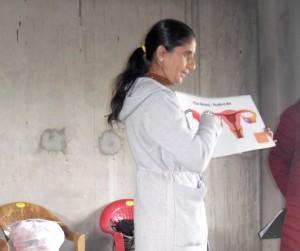 Indira presenting MHM copy